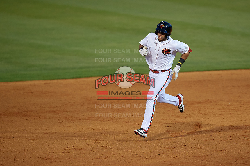 Florida Fire Frogs Rusber Estrada (12) rounds the bases after hitting a home run during a Florida State League game against the Jupiter Hammerheads on April 8, 2019 at Osceola County Stadium in Kissimmee, Florida.  Florida defeated Jupiter 7-6 in ten innings.  (Mike Janes/Four Seam Images)