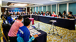 Team formers of China PR, Thailand, Iran and Korea Republic attends the Match Coordination Meeting Group A during the AFC U-16 Women's Championship China 2015 at the Wuhan Jianguo Oriental Hotel on 03 November 2015 in Wuhan, China. Photo by Aitor Alcalde / Power Sport Images