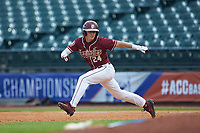 Matt Henderson (24) of the Florida State Seminoles attempts to steal a base against the Notre Dame Fighting Irish in Game Four of the 2017 ACC Baseball Championship at Louisville Slugger Field on May 24, 2017 in Louisville, Kentucky. The Seminoles walked-off the Fighting Irish 5-3 in 12 innings. (Brian Westerholt/Four Seam Images)