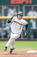 Michigan Wolverines outfielder Jesse Franklin (7) runs to third base during Game 11 of the NCAA College World Series against the Texas Tech Red Raiders on June 21, 2019 at TD Ameritrade Park in Omaha, Nebraska. Michigan defeated Texas Tech 15-3 and is headed to the CWS Finals. (Andrew Woolley/Four Seam Images)