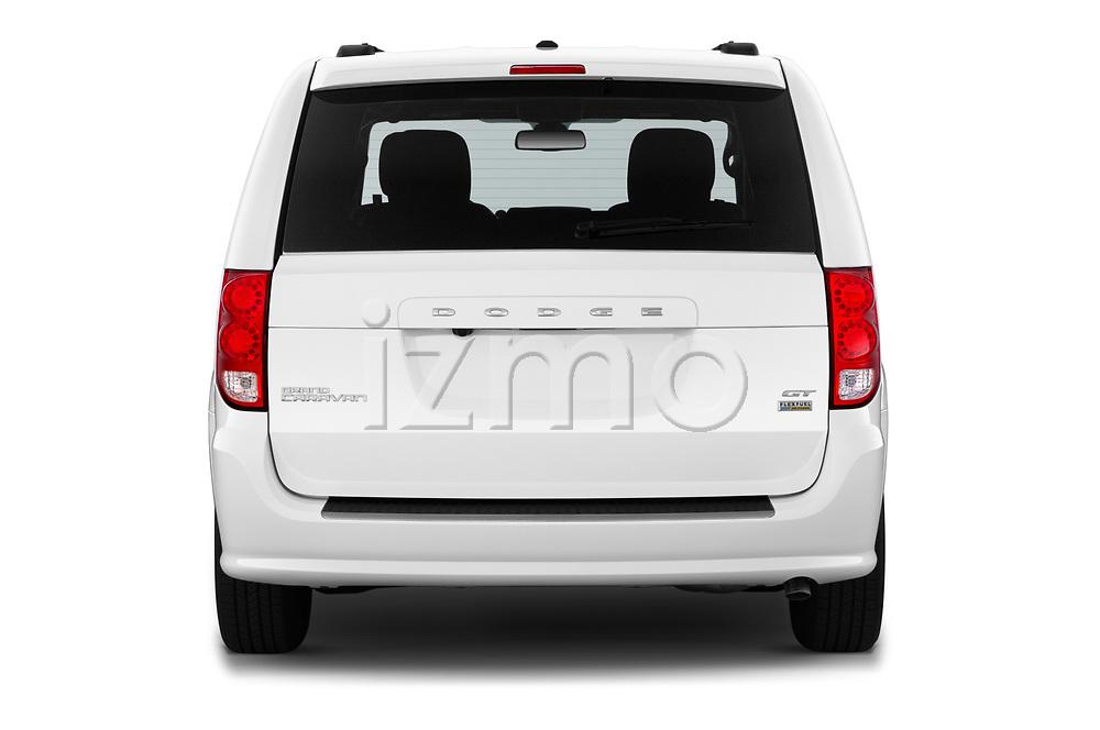 Straight rear view of 2019 Dodge Grand-Caravan GT 5 Door Minivan Rear View  stock images