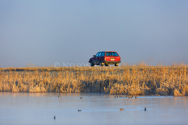 A car driving in the Lee Metcalf Wildlife Refuge in the Bitterroot Valley in western Montana.