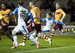 Motherwell v St Johnstone…06.02.18…  Fir Park…  SPFL<br />Stefan Scougall's shot is saved<br />Picture by Graeme Hart. <br />Copyright Perthshire Picture Agency<br />Tel: 01738 623350  Mobile: 07990 594431