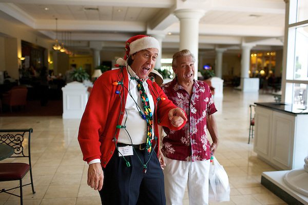 Chevy Chase and Robert De Nero impersonators play about at The Rosen Plaza hotel during The Sunburst Convention of Tribute Artists