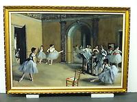 "Degas, Edgar (1834-1917)<br /> Ballet Studio at the Opera in rue Le Peletier, 1872. Dimensions:  57"" High x 81"" Wide X 3"" Deep"