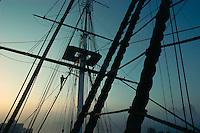 Rigging, sunrise, USS Constitution, Charlestown, MA