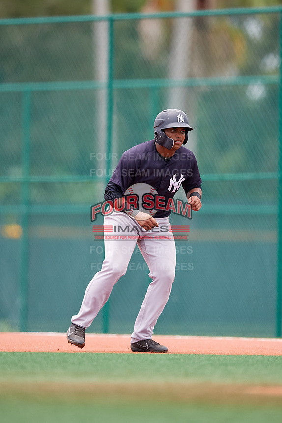 GCL Yankees East right fielder Christian Andrade (11) leads off first base during the second game of a doubleheader against the GCL Pirates on July 31, 2018 at Pirate City Complex in Bradenton, Florida.  GCL Pirates defeated GCL Yankees East 12-4.  (Mike Janes/Four Seam Images)