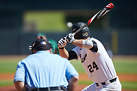 Gavin Sheets (24) of the Wake Forest Demon Deacons at bat against the Miami Hurricanes in Game Nine of the 2017 ACC Baseball Championship at Louisville Slugger Field on May 26, 2017 in Louisville, Kentucky. The Hurricanes defeated the Demon Deacons 5-2. (Brian Westerholt/Four Seam Images)