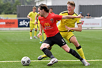 Garbhan Coughlan of Canterbury United competes for the ball with Finn Surman of the Wellington Phoenix during the ISPS Handa Men's Premiership - Wellington Phoenix Reserves v Canterbury United at Fraser Park, Wellington on Saturday 9 January 2021.<br /> Copyright photo: Masanori Udagawa /  www.photosport.nz