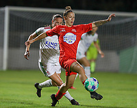 Lenie Onzia (8) of OHL and Celine Verdonck (27) of Woluwe in action during a female soccer game between FC Femina White Star Woluwe and Oud Heverlee Leuven on the fourth matchday in the 2021 - 2022 season of Belgian Scooore Womens Super League , Friday 10 th of September 2021  in Woluwe , Belgium . PHOTO SPORTPIX   SEVIL OKTEM