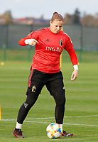 20201021 - TUBIZE , Belgium : Goalkeeper Justien Odeurs with the ball during a training session of the Belgian Women's National Team, Red Flames , on the 21st of October 2020 at Proximus Basecamp in Tubize. PHOTO: SPORTPIX.BE | SPP | SEVIL OKTEM