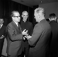 le Premier Ministre unioniste <br /> Daniel Johnson<br /> lors du Lancement de la campagne de souscription de l'universitee Laval, 20 aout 1966<br /> <br /> PHOTO :  Agence Quebec Presse - Photo Moderne
