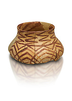 Chalcolithic decorated terra cotta pot. Circa 5000BC. Catalhoyuk collection, Konya Archaeological Museum, Turkey. Against a white background