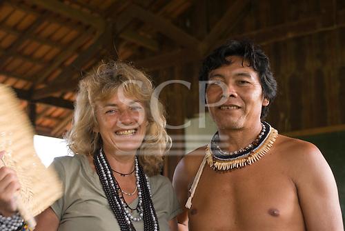 Xingu Indigenous Park, Mato Grosso State, Brazil. Aldeia Tuiarare (Kaiabi). Sue Cunningham and Cacique Yowosipep Kaiabi.