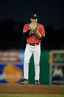 Batavia Muckdogs relief pitcher Tanner Andrews (34) gets ready to deliver a pitch during a game against the West Virginia Black Bears on July 3, 2018 at Dwyer Stadium in Batavia, New York.  Batavia defeated West Virginia 5-4.  (Mike Janes/Four Seam Images)