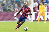 KANSAS CITY, KS - JULY 11: Gyasi Zardes #9 of the United States moves with the ball during a game between Haiti and USMNT at Children's Mercy Park on July 11, 2021 in Kansas City, Kansas.