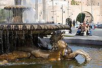 Tripoli, Libya - Italian Fountain from Colonial Era, Green Square, Medina Entrance in Background