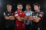 Welsh Regional rugby Players: John Evols (Dragons), Kirby Myhill (Scarlets), Josh Navidi (Blues) & Ross Jones (Ospreys)..28.08.12.©Steve Pope