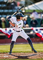 29 May 2021: Vermont Lake Monsters outfielder Darren Hagan, from Chichester, PA, at bat against the Norwich Sea Unicorns at Centennial Field in Burlington, Vermont. The Lake Monsters defeated the Unicorns 6-3 in their FCBL Home Opener, the first home game played at Centennial Field post-Covid-19 pandemic. Mandatory Credit: Ed Wolfstein Photo *** RAW (NEF) Image File Available ***