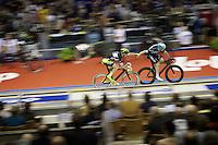 slingshot relay by track masters Iljo Keisse (BEL/Etixx-QuickStep) & Michael Mørkøv (DEN/Tinkoff-Saxo)<br /> <br /> 2015 Gent 6