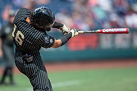 Vanderbilt Commodores third baseman Austin Martin (16) swings the bat against the Mississippi State Bulldogs in the NCAA College World Series on June 19, 2019 at TD Ameritrade Park in Omaha, Nebraska. Vanderbilt defeated Mississippi State 6-3. (Andrew Woolley/Four Seam Images)