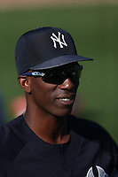 OAKLAND, CA - SEPTEMBER 4:  Andrew McCutchen #22 of the New York Yankees warms up on the field before the game against the Oakland Athletics at the Oakland Coliseum on Tuesday, September 4, 2018 in Oakland, California. (Photo by Brad Mangin)