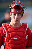 Billings Mustangs catcher Eric Yang (25) walks toward the dugout before a Pioneer League game against the Grand Junction Rockies at Dehler Park on August 14, 2019 in Billings, Montana. Grand Junction defeated Billings 8-5. (Zachary Lucy/Four Seam Images)