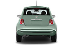 Straight rear view of 2017 Fiat 500 Pop 3 Door Hatchback Rear View  stock images