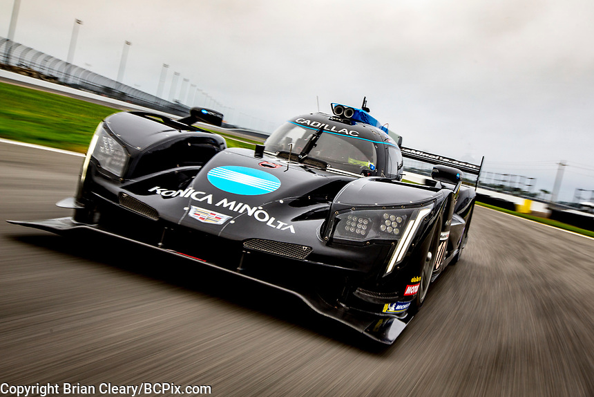 DAYTONA BEACH, FL - JAN 3: The #10 Cadillac DPi of Renger van der Zande, of the Netherlands, Ryan Briscoe, of Australia, Scott Dixon, of New Zealand, and Samui Kobayashi, of Japan, drives on the track during a pre-season photo shoot before the Rolex 24 at Daytona at Daytona International Speedway, Daytona Beach, Florida,  January 3, 2020. (Photo by Brian Cleary/BCPix.com)