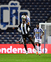 20th December 2020; Dragao Stadium, Porto, Portugal; Portuguese Championship 2020/2021, FC Porto versus Nacional; Mateus Uribe of FC Porto wins the header from Brayan Riascos of Nacional