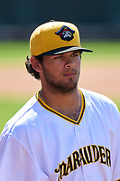 Bradenton Marauders pitcher Jared Jones (37) after a game against the Palm Beach Cardinals on May 30, 2021 at LECOM Park in Bradenton, Florida.  (Mike Janes/Four Seam Images)