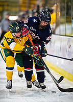 8 February 2020: University of Connecticut Husky Forward Danielle Fox, a Sophomore from Unionville, Ontario, battles University of Vermont Catamount Forward Hailey Burns, a Freshman from Kirkland, Québec, in first period action at Gutterson Fieldhouse in Burlington, Vermont. The Huskies defeated the Lady Cats 4-2 in the first game of their weekend Hockey East series. Mandatory Credit: Ed Wolfstein Photo *** RAW (NEF) Image File Available ***