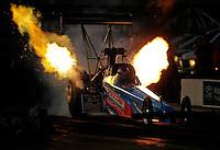 Oct. 14, 2011; Chandler, AZ, USA; NHRA top fuel dragster driver Mike Strasburg during qualifying for the Arizona Nationals at Firebird International Raceway. Mandatory Credit: Mark J. Rebilas-