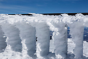 Rime ice on the summit of Mount Washington in the White Mountains, New Hampshire during the winter months. Mount Washington, at 6,288 feet, is the tallest mountain in the northeastern United States.