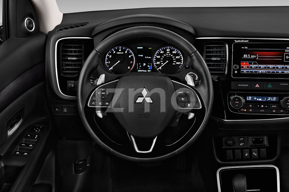 Car pictures of steering wheel view of a 2018 Mitsubishi Outlander GT 4WD 5 Door SUV