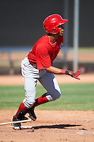 Los Angeles Angels minor league catcher Natanael Delgado #36 during an instrasquad game at the Tempe Diablo Stadium Complex on October 10, 2012 in Tempe, Arizona.  (Mike Janes/Four Seam Images)