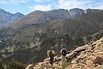Photographers hiking the Flattop Mountain Trail in Rocky Mountain National Park, Colorado.<br /> Outside Imagery offers Rocky Mountain National Park sightseeing and Colorado hikes.  Year-round sightseeing.