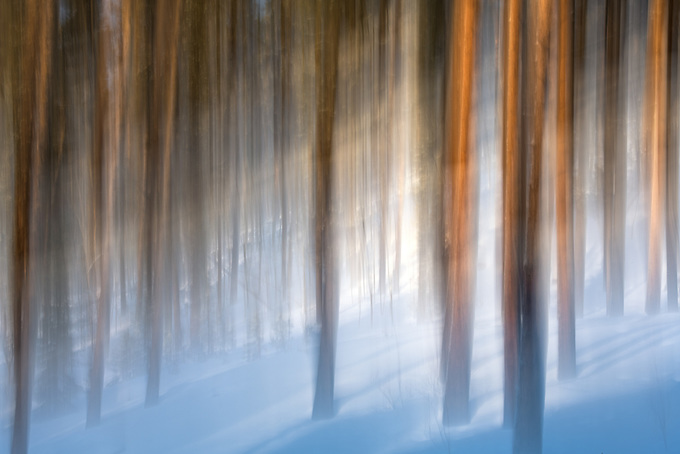 A single exposure with intentional motion blur creates this abstract rendering of sunset light on a snowy landscape at high altitudes in the Colorado Rocky Mountains.