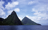 Soufriere Bay, St. Lucia. View over the sea to Pitons (Gros on right and Petit on left) the island's most famous landmarks.