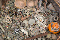 Morocco.  Scrap Metal--a Jeweler's Junk Box.  Ait Benhaddou Ksar, a World Heritage Site.