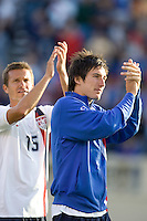 Jesse Marsch and Sacha Kljestan applaud the fans. The USA defeated China, 4-1, in an international friendly at Spartan Stadium, San Jose, CA on June 2, 2007.