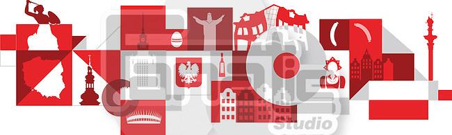 Illustrative collage of Poland over white background
