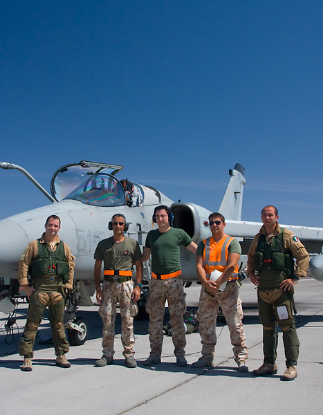 Members the Italian Air Force (Aeronautica Militare) pose for a cover shoot at Nellis Air Force Base in Las Vegas, NV.