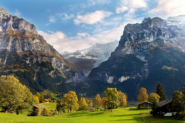 Swiss houses on high Alpine pastures  - Grindelwald Switzerland