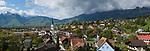 Panorama. Eschen, Rheintal, Rhine-valley, Liechtenstein. Panorama.