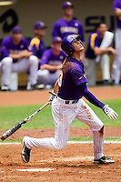 LSU Tigers second baseman Jacoby Jones #23 swings during the NCAA Super Regional baseball game against Stony Brook on June 9, 2012 at Alex Box Stadium in Baton Rouge, Louisiana. Stony Brook defeated LSU 3-1. (Andrew Woolley/Four Seam Images)