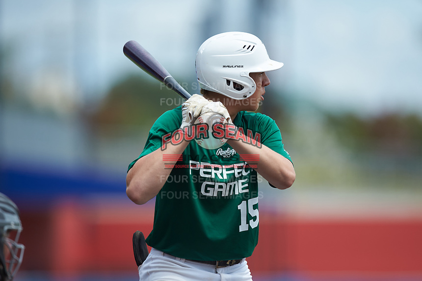 Preston Crowl (15) of Franklin County High School in Wirtz, VA during the Atlantic Coast Prospect Showcase hosted by Perfect Game at Truist Point on August 23, 2020 in High Point, NC. (Brian Westerholt/Four Seam Images)