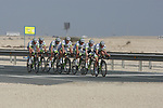 Project IT4i team warms up before the 2nd Stage of the 2012 Tour of Qatar an 11.3km team time trial at Lusail Circuit, Doha, Qatar. 6th February 2012.<br /> (Photo Eoin Clarke/Newsfile)
