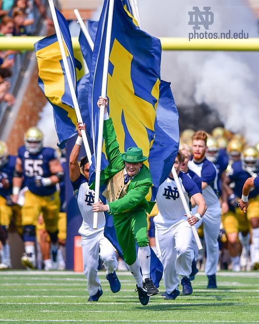 September 11, 2021; The Leprechaun leads the team onto the field before the football game against Toledo. (photo by Matt Cashore/University of Notre Dame)