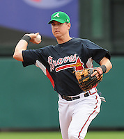 17 March 2009: Second baseman Kelly Johnson of the Atlanta Braves in a game against the New York Mets at the Braves' Spring Training camp at Disney's Wide World of Sports in Lake Buena Vista, Fla. Photo by:  Tom Priddy/Four Seam Images